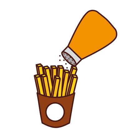 감자 튀김 및 소금 패스트 푸드 맛있는 신선한 벡터 일러스트 레이 션