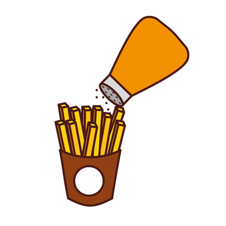 french fries and salt fast food tasty fresh vector illustration