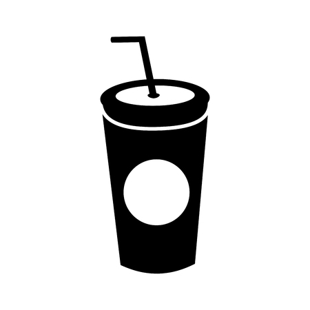 plastic soda cup with straw disposable takeaway vector illustration Imagens - 86059455