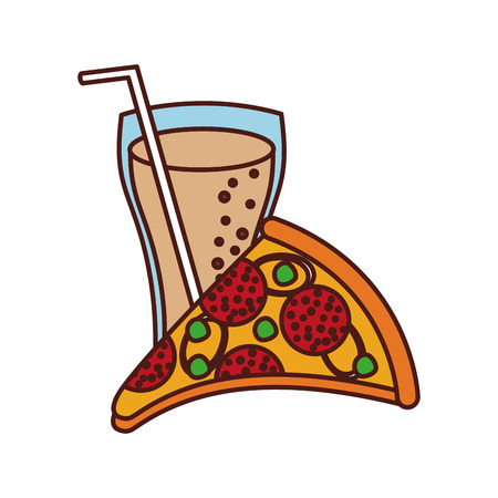 fast food pizza with cheese pepperoni tasty and soda vector illustration