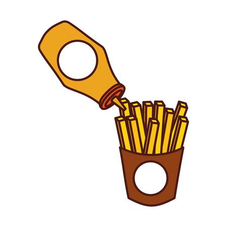 ケチャップ ファーストフード新鮮なベクトル図とフライド ポテト  イラスト・ベクター素材