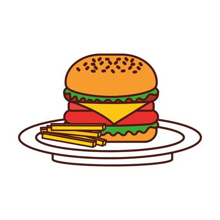 Hamburguesa francés hamburguesas fritas comida rápida deliciosa comida almuerzo vector illustration Foto de archivo - 86059467