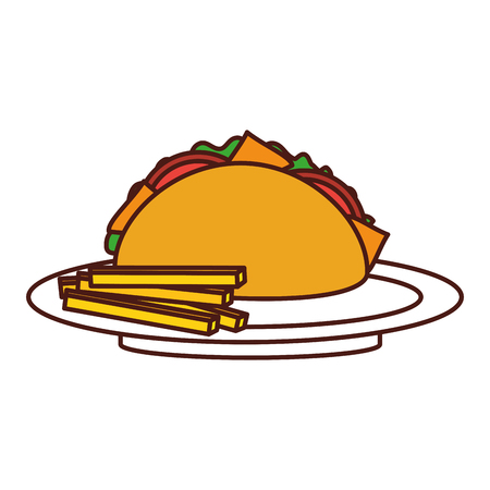 fast food taco french fries mexican menu restaurant vector illustration Illustration