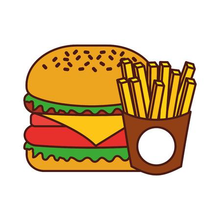 Hamburger francese patatine fritte barbecue gustoso deliziosa illustrazione vettoriale pranzo pranzo Archivio Fotografico - 86059473