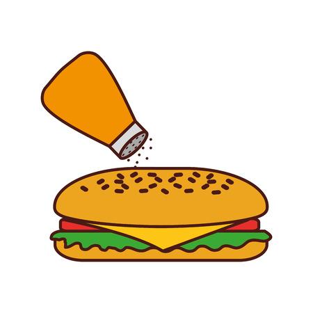 Fast-Food-Sandwich-Menü Restaurant-Mittagessen-Vektor-illustration Standard-Bild - 86059474