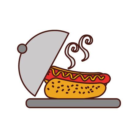 fast food hot dog sausage dish dinner vector illustration Illustration