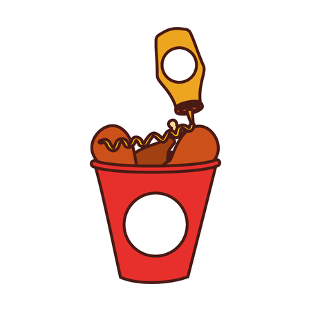 fast food bucket roasted chicken with ketchup menu vector illustration