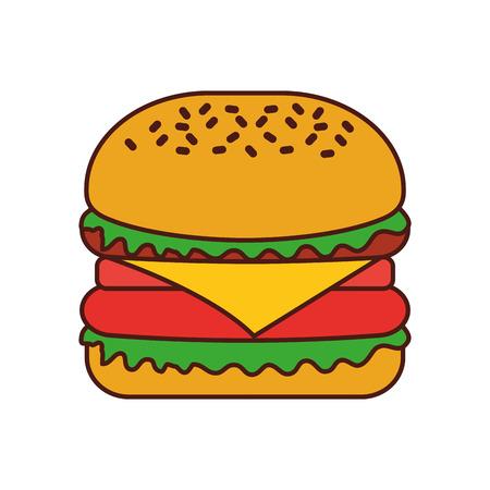 Burger Fastfood lecker lecker Snack Mittagessen Vektor-Illustration Standard-Bild - 86059480