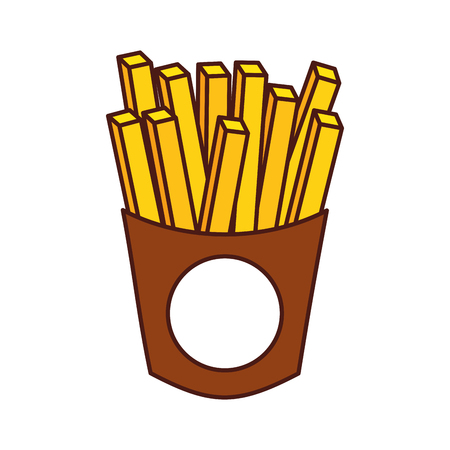 french fries fast food delicious fresh vector illustration 向量圖像