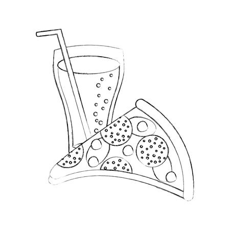 ファーストフード ピザ チーズ ピーマンおいしいとソーダのベクトル図  イラスト・ベクター素材