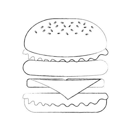Fast food hamburger gustoso deliziosa illustrazione vettoriale pranzo pranzo Archivio Fotografico - 86059488