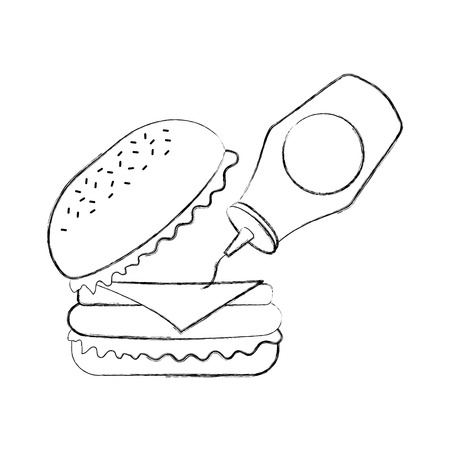 burger with ketchup fast food tasty delicious snack lunch vector illustration