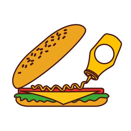 Fastfood sandwich gieten mosterdmenu restaurant lunch vectorillustratie Stockfoto - 86059492