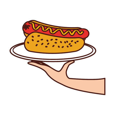 hand holding hot dog sausage in plate and mustard dinner fast food vector illustration