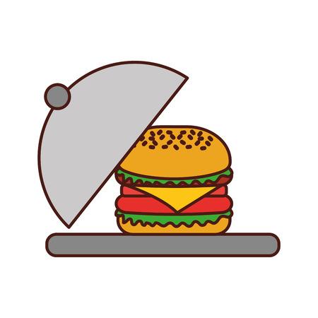 Burger Fastfood lecker lecker Snack Mittagessen Vektor-Illustration Standard-Bild - 86059495