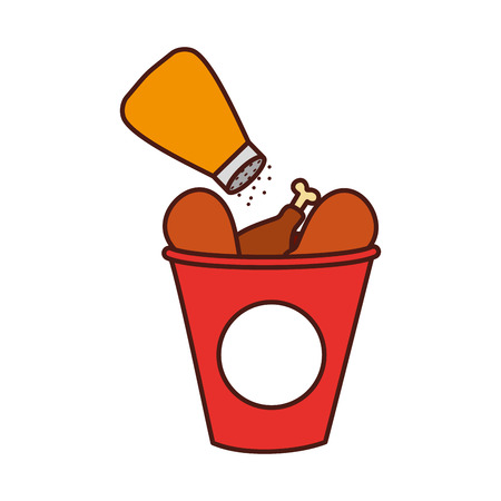 fast food bucket roasted chicken menu vector illustration Reklamní fotografie