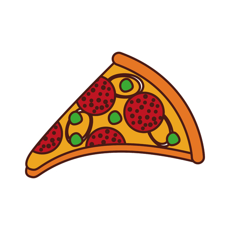 fast food pizza with cheese pepperoni tasty vector illustration 版權商用圖片