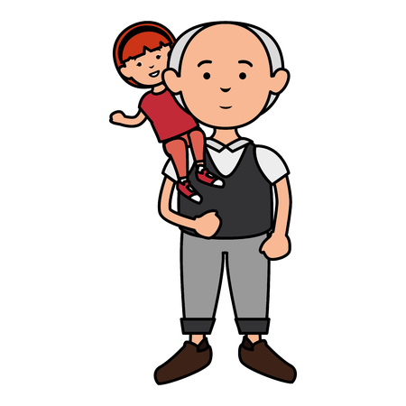 grandfather with grandson avatars vector illustration design Stock fotó - 86099684