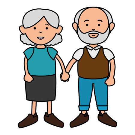 grandparents couple avatars characters vector illustration design Illustration