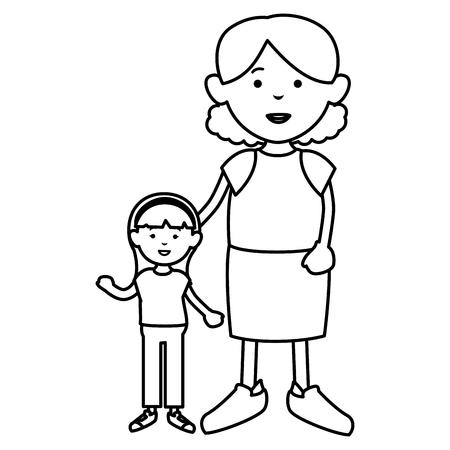 할머니와 손녀 아바타 벡터 일러스트 레이 션 디자인 일러스트