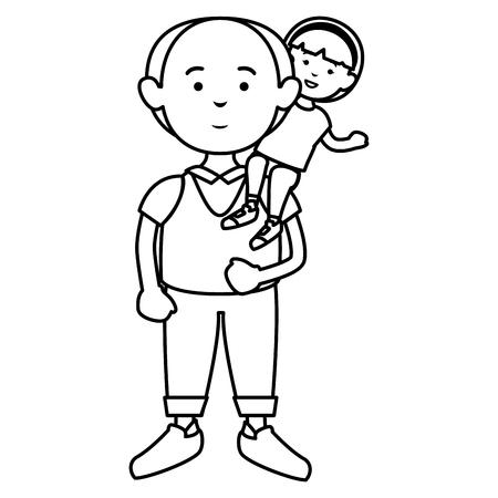 grandfather with grandson avatars vector illustration design