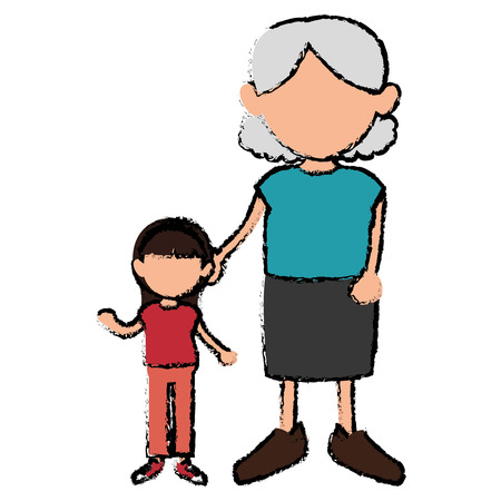 grandmother with granddaughter avatars vector illustration design