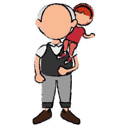 grandfather with grandson avatars vector illustration design Stok Fotoğraf - 86099752