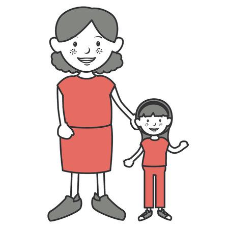 grandmother with granddaughter avatars vector illustration design