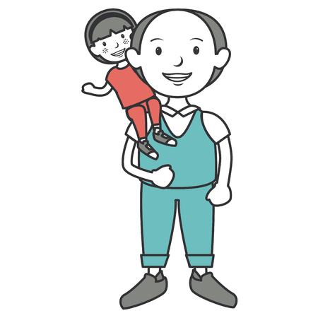 grandfather with grandson avatars vector illustration design Stock fotó - 86099838