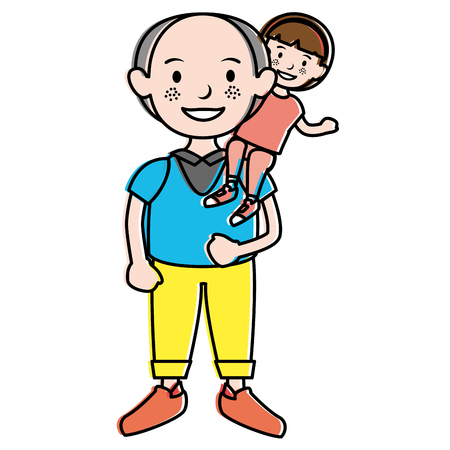 grandfather with grandson avatars vector illustration design