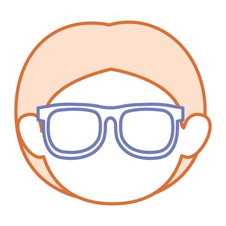 schattige kleine jongen met een bril avatar karakter vector illustratie ontwerp