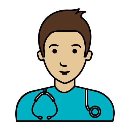male doctor with stethoscope avatar character vector illustration design Illustration