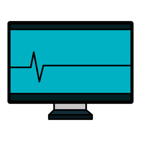 computer display with cardiology line vector illustration design