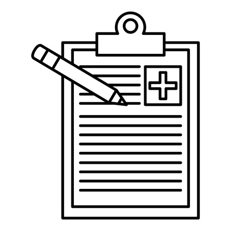pharmacy symbol: medical order with pencil writing vector illustration design