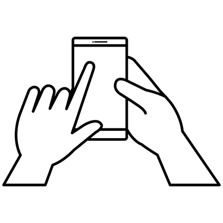 phone: hand human with smartphone device isolated icon vector illustration design