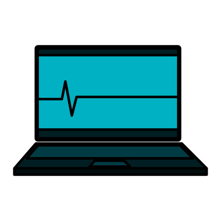 laptop computer with cardiology line vector illustration design Stock Photo