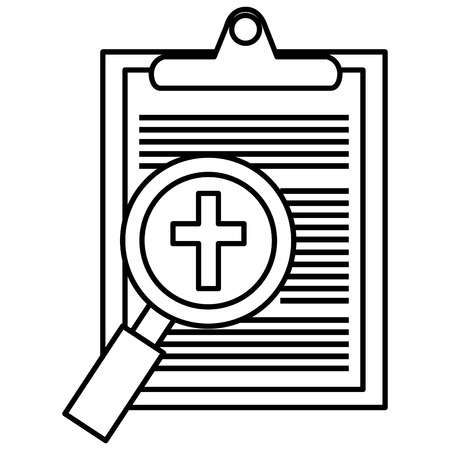 medical order with magnifying glass vector illustration design