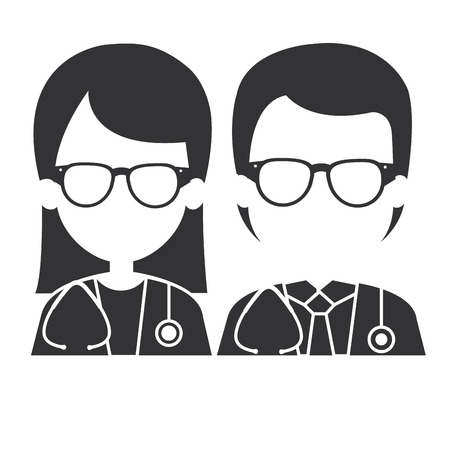 doctors couple with stethoscope avatars characters vector illustration design