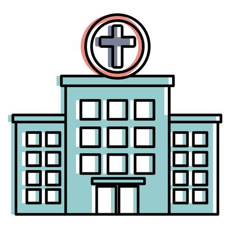 Bâtiment d & # 39 ; hôpital isolé icône du design illustration vectorielle Banque d'images - 86141494