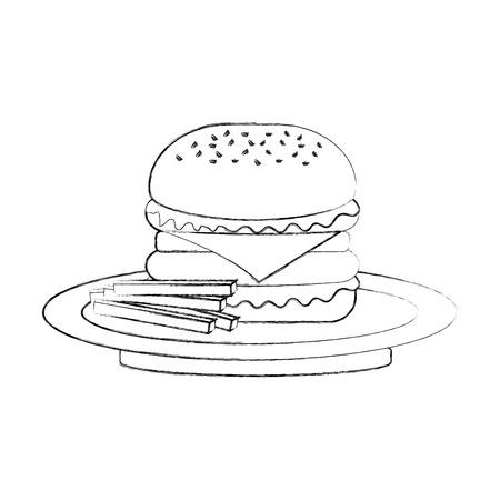 Hamburger francese patatine fritte barbecue gustoso deliziosa illustrazione vettoriale pranzo pranzo Archivio Fotografico - 86141559