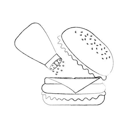 Burger Fastfood lecker lecker Snack Mittagessen Vektor-Illustration Standard-Bild - 86141561