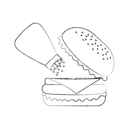 Hamburger fast food gustoso delizioso spuntino pranzo illustrazione vettoriale Archivio Fotografico - 86141561