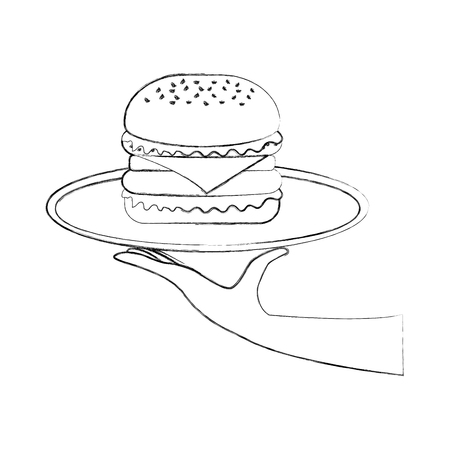 hand holding burger in dish fast food tasty delicious snack lunch vector illustration Illustration