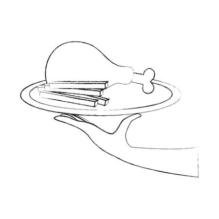 Mano sosteniendo comida rápida pollo asado y papas fritas menú restaurante ilustración vectorial Foto de archivo - 86100177