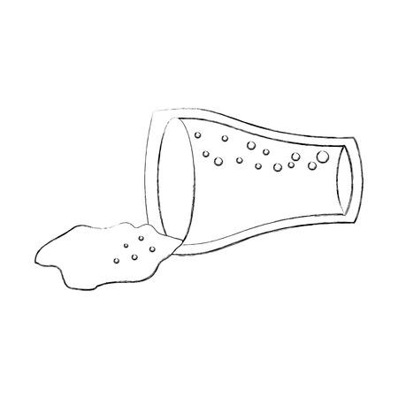 こぼれたガラス カップ コーラ飲む泡ベクトル図