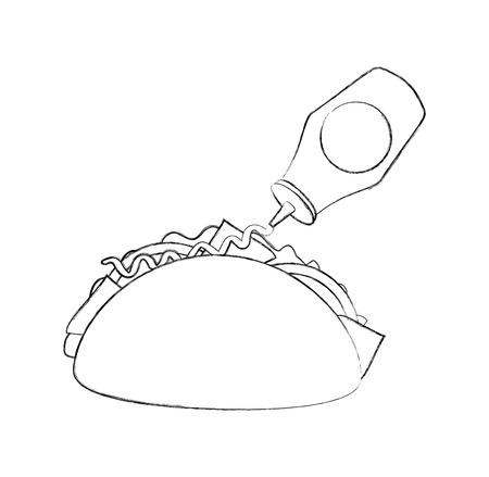 Fast food taco messicano ketchup bottiglia menu ristorante illustrazione vettoriale Archivio Fotografico - 86100182