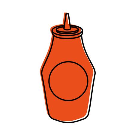 bottle of ketchup sauce ingredient fast food vector illustration