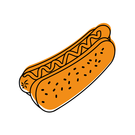 fast food hot dog sausage and mustard dinner vector illustration Zdjęcie Seryjne - 86141576