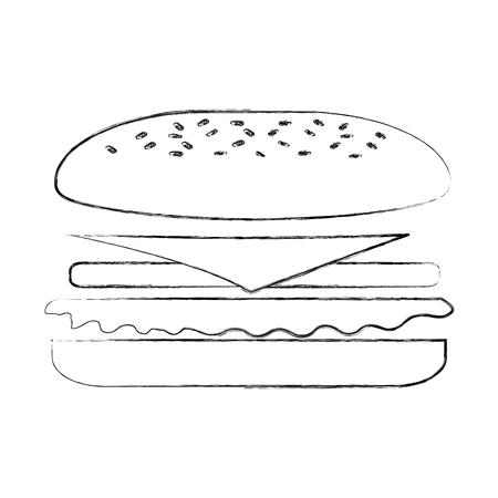 fast food sandwich menu restaurant lunch vector illustration Çizim