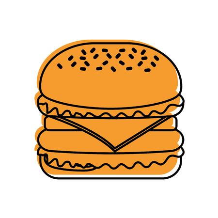 ハンバーガーファーストフードおいしいおいしいスナックランチベクトルイラスト  イラスト・ベクター素材